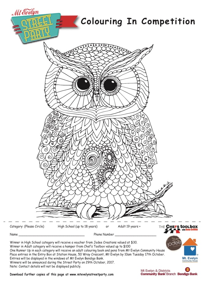 Adult category colouring in competition for the Mt Evelyn Street Party 2017