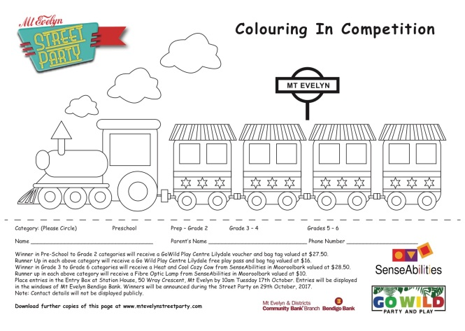 Colouring in page for children for the Mt Evelyn Street Party 2017 competition