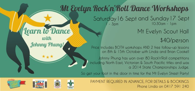Mt Evelyn Rock'n'Roll Dance Workshops flyer